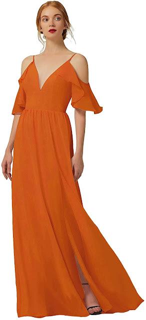 Discount Orange Chiffon Bridesmaid Dresses