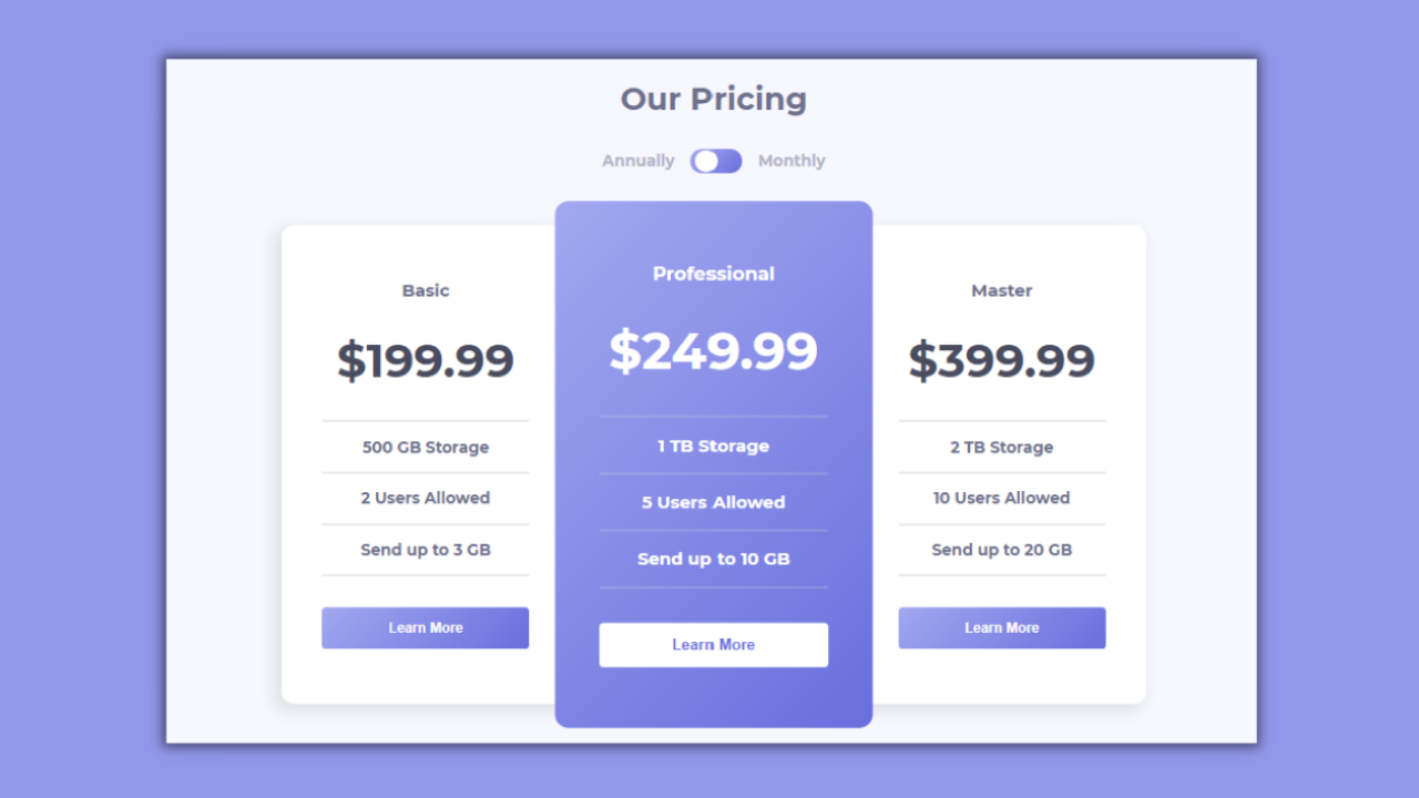 Responsive Pricing Card Tables