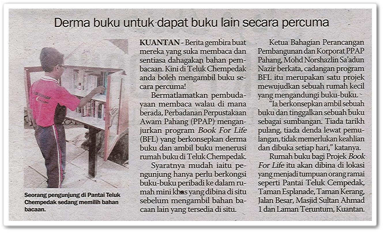 Derma buku untuk dapat buku lain secara percuma - Keratan akhbar Sinar Harian 28 Oktober 2019
