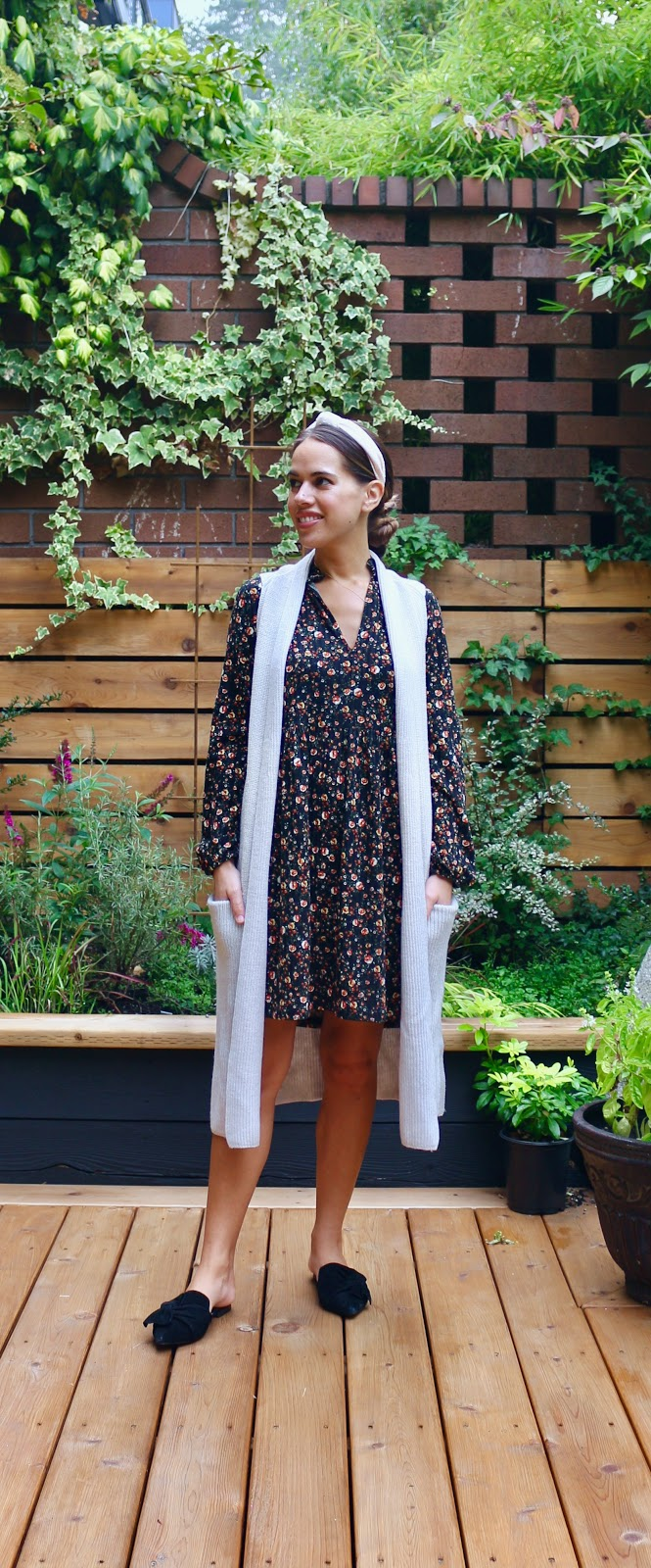 Jules in Flats - Fall Long Sleeve Mini Dress with Duster Vest (Business Casual Workwear on a Budget)