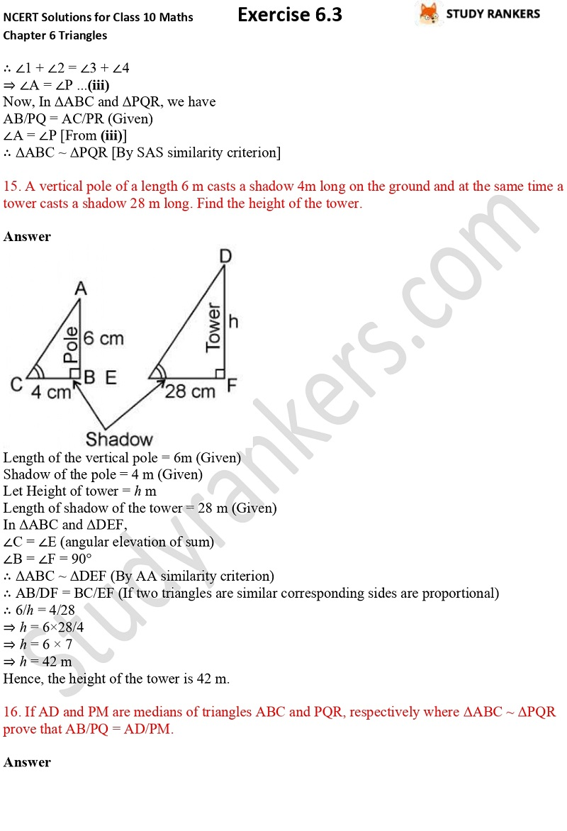 NCERT Solutions for Class 10 Maths Chapter 6 Triangles Exercise 6.3 Part 11