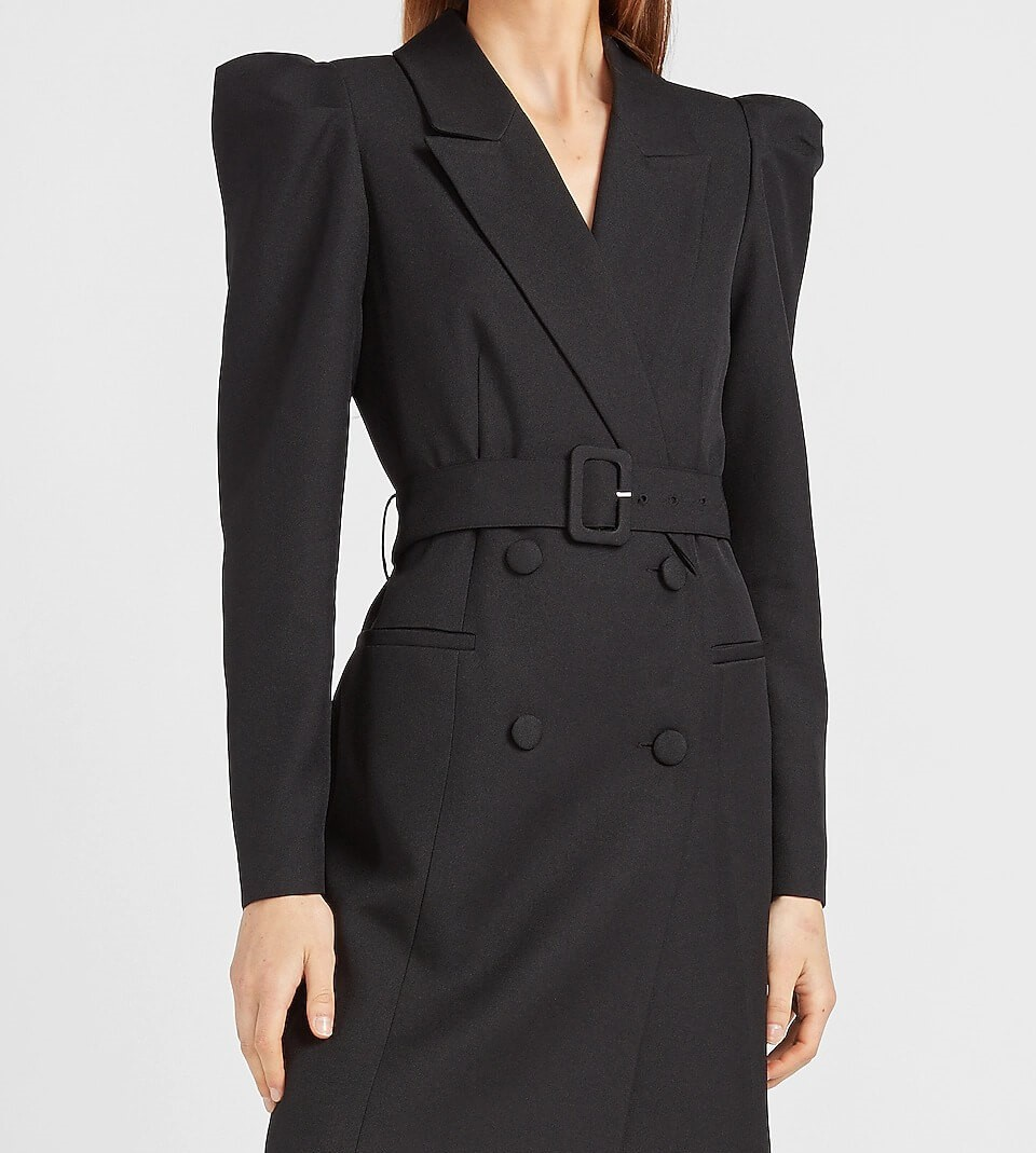 puff sleeve belted blazer dress