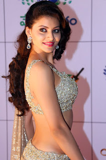 Uravashi Rautela Spicy Stills in Glitering Deep Neck Choli and Low Rise saree