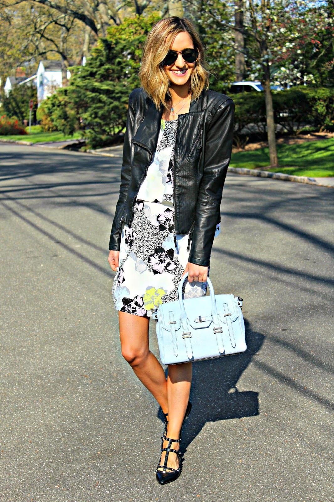 edgy floral spring outfit