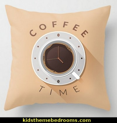 COFFEE TIME Throw Pillow  coffee theme decor - coffee themed decorating ideas - coffee themed kitchen decorations - coffee decor for kitchen - coffee cup theme in the kitchen - coffee kitchen decor - coffee wall decal stickers - coffee cafe decor - coffee wallpaper murals - Barista tools  coffee cafe - coffee bedding - coffee pillows -  coffee ugs - coffee cup chairs - cafe decorations -  barista  espresso latte cafe