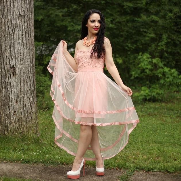Dresslily Pink Lace Dress