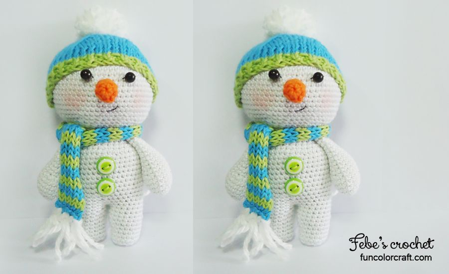 Snowman Christmas Amigurumi Crochet Pattern Free - Funcolor Craft