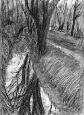 charcoal sketch landscape reflection tree canal