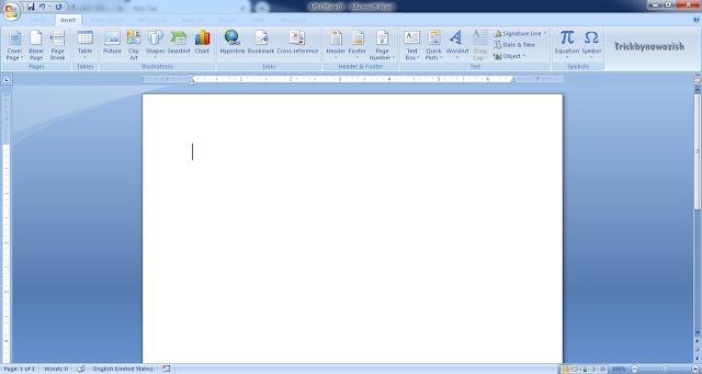 Insert Tab Microsoft Word 2007 Full Information