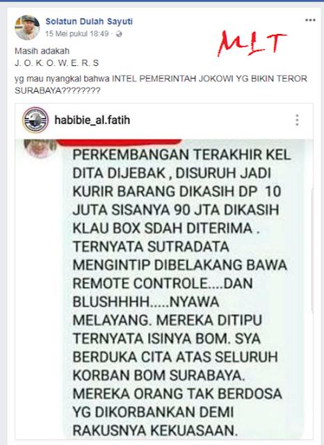 Updet, Dosen Yang Sebut Bom Surabaya Rekayasa Adalah Caleg DPR Dari Partai PBB
