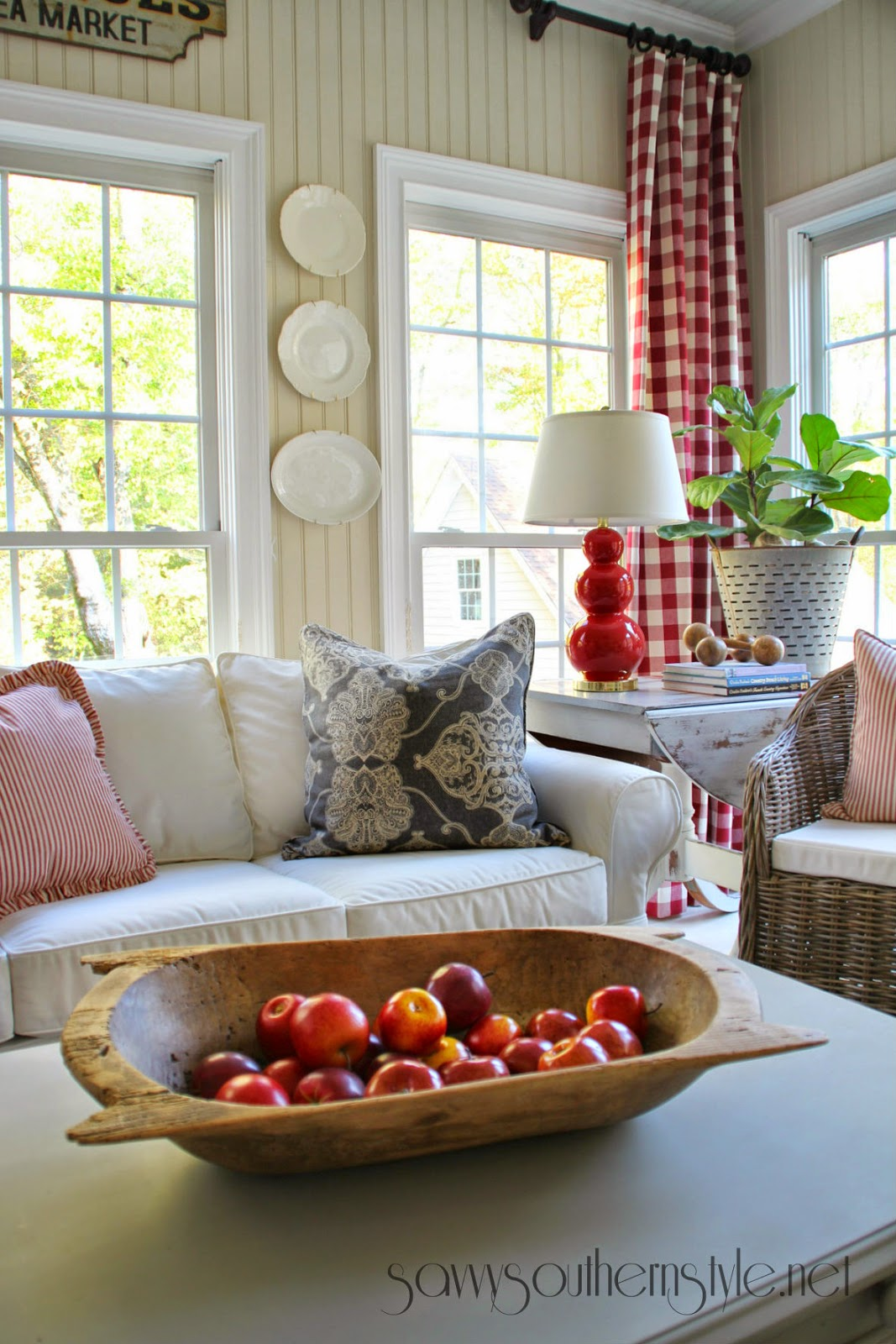 Savvy Southern Style: New Red & Gray Additions In The Sunroom