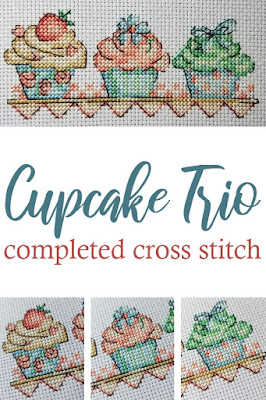 Completed Cross Stitch - Cupcake Trio