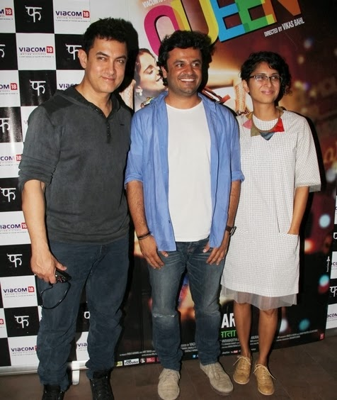 Aamir Khan with his wife on special screening of Queen to support movie at Light Box Theatre