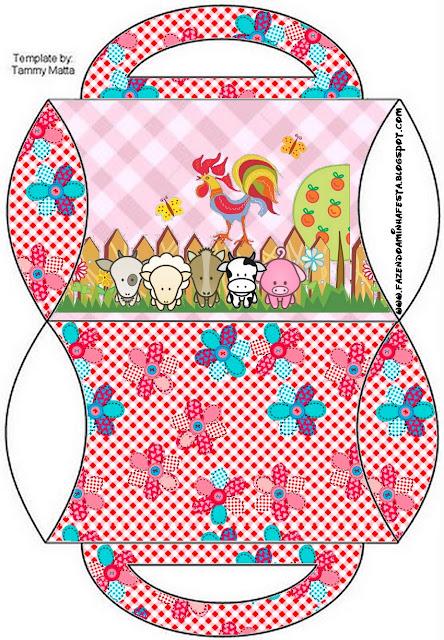 Caja tipo almoada de La Granja Bebés en Rosa para imprimir gratis.