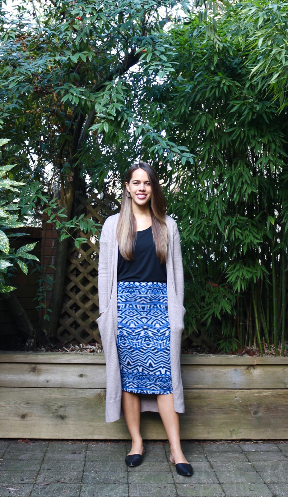 Jules in Flats - Duster Cardigan with Midi Skirt (Business Casual Spring Workwear on a Budget)