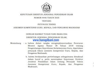 SK Dirjen Pendis Tentang Petunjuk Teknis Pelaksanaan  Asesmen Kompetensi GTK Madrasah