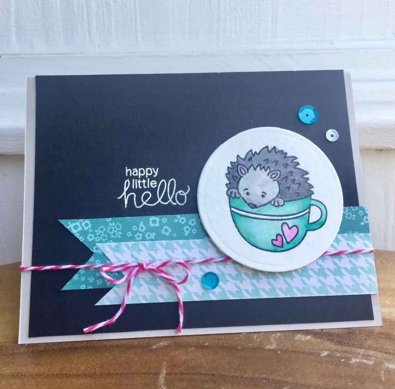 Hedgehog Card by Donna for Inky Paws Color Challenge 53 | Hedgehog Hollow Stamp set by Newton's Nook Designs #newtonsnook