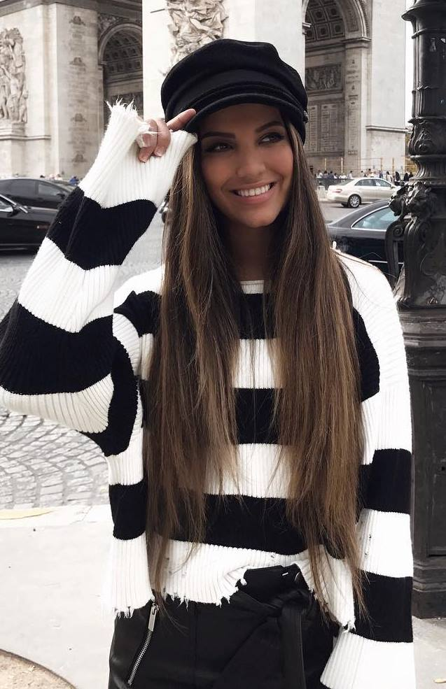 black and white | hat + stripped sweater + skirt
