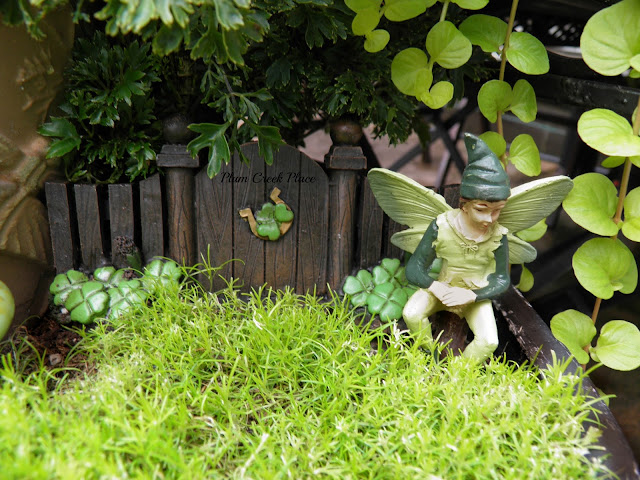 Plum Creek Place, Little Jo's doll party,  broken pot fairy garden, fairy garden, Halloween fairy garden