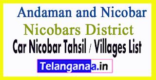 Car Nicobar Tahsil Villages Codes Nicobars District Andaman and Nicobar Islands State India