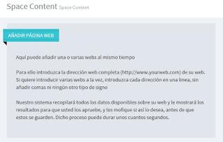 Space Content - panel añadir página web