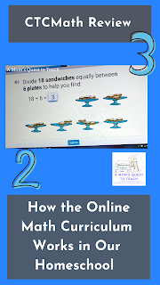 Text: CTCMath Review: How the Online Math Curriculum Works in Our Homeschool; clip art 2 & 3; screen from CTCMath