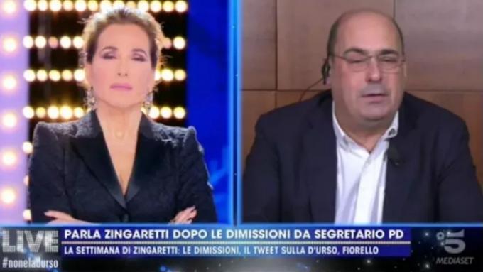 "Zingaretti da Barbara d'Urso: ""Dimissioni irrevocabili"""