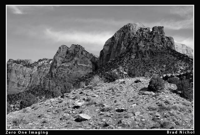 Test Super Resolution, monochrome, Sony NEX5n, Zion National Park