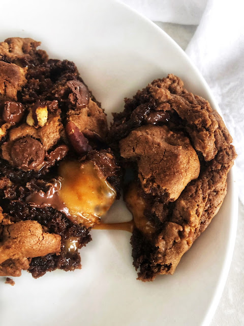 gooey caramel and chocolate cookie