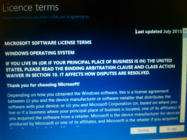 licence agreements windows 10