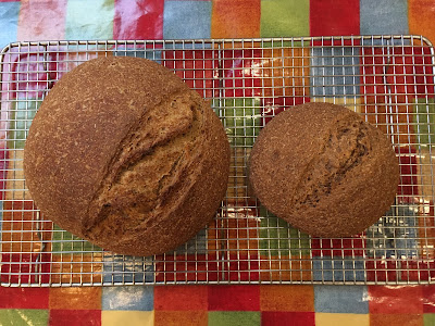 Two round loaves, one considerably smaller than the other