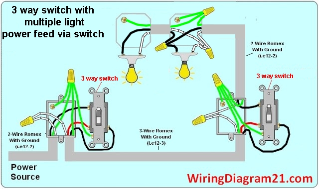 3%2Bway%2Blight%2Bswitch%2Bwiring%2Bdiagram%2Bmultiple%2Blight%2Bpower%2Bfeed%2Bvia%2Bswitch wiring diagram for a 3 way switch with 2 lights three way switch wiring a 3 way switch with 1 light at eliteediting.co
