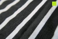 Stoff: AIYUE Frauen Monochrom Streifen mit kurzen Hülsen Etuikleid Figurbetontes Kleid Partykleid Clubwear