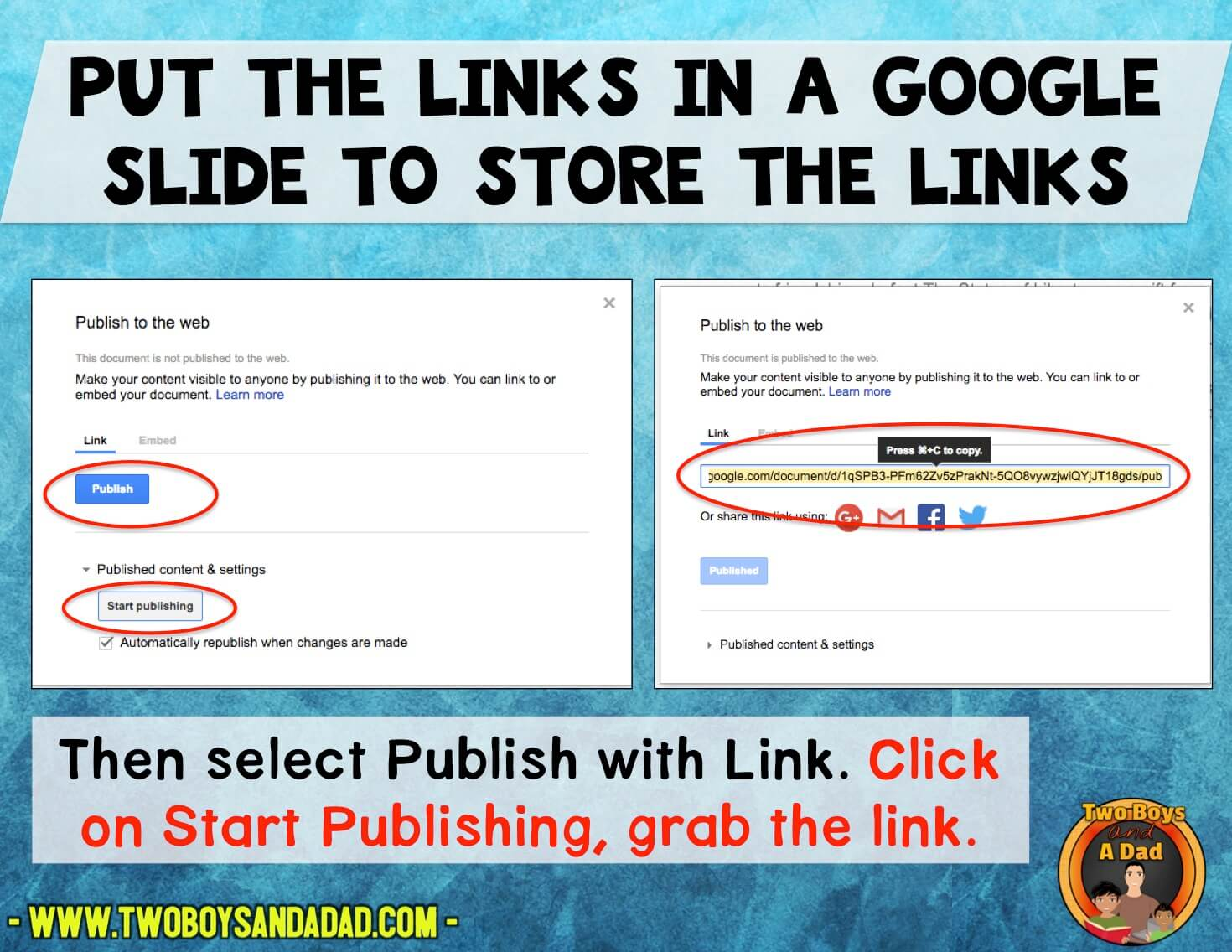 Store links on Google Sildes