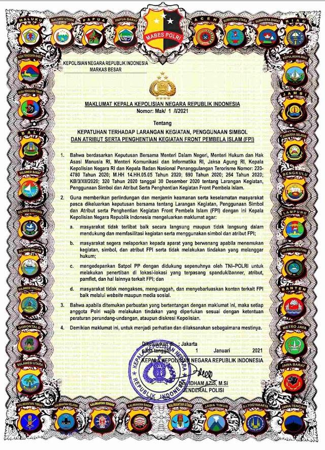 Kapolres Batu Bara AKBP Ikhwan Lubis, S,H. M,H, Kapolri Terbitkan Maklumat Larangan Kegiatan dan Atribut FPI