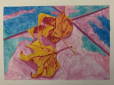 Leaves on concrete abstract drawing in watercolour pencil on watercolour paper, artist Linzé Brandon, signed as LdV-V