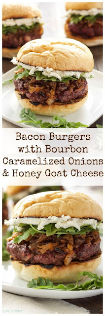 Bacon Burgers Amongst Bourbon Caramelized Onions Too Caprine AnimalCheese Recipe