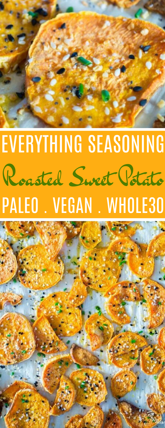Everything Seasoning Roasted Sweet Potatoes (paleo, vegan, Whole30) #snacks #healthy #diet #keto #glutenfree