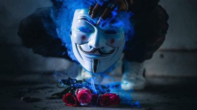Flores Rosas e Máscara Anonymous V