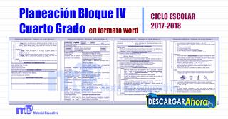 Planeación Bloque IV Cuarto Grado primaria