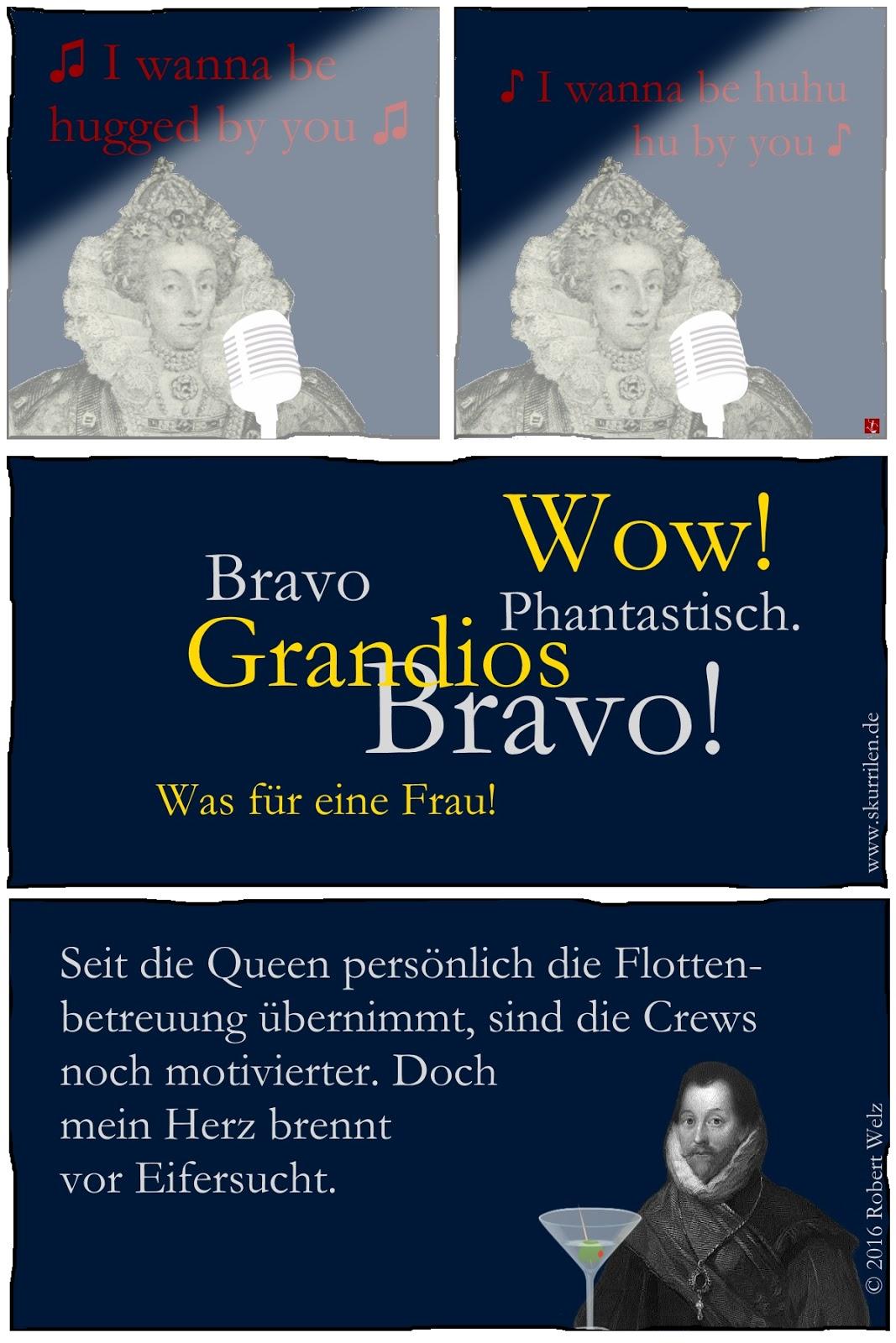 Große Gefühle im Comic. Francis Drake, der Freibeuter der Königin hat den Blues. Elizabeth I. singt für die englischen Matrosen, Unteroffiziere und Offiziere. Die Flotte ist begeistert. Doch Drake ist eifersüchtig.