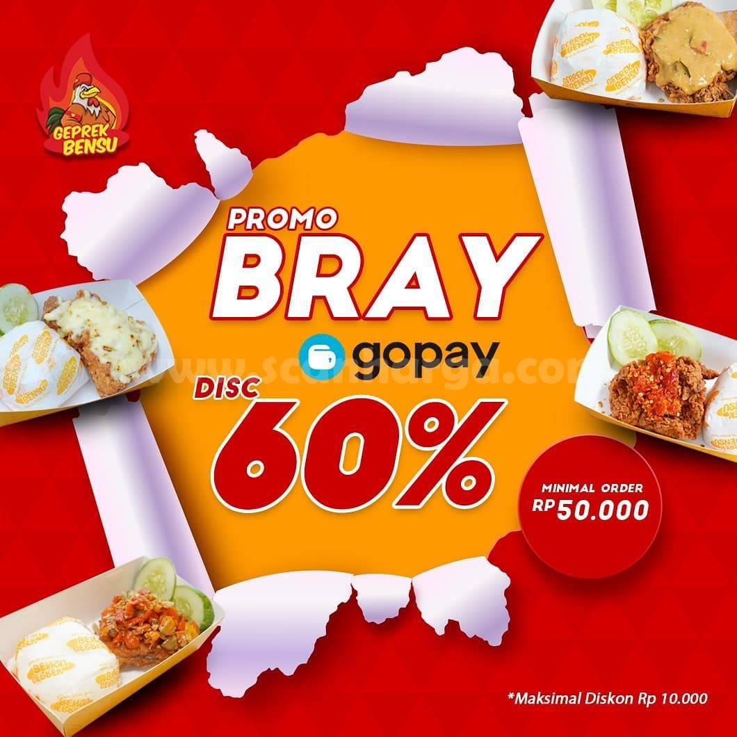 Geprek Bensu Promo BRAY DISKON 60% Transaksi pakai GOPAY