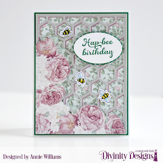 Stamp/Die Duos: Bee-lieve Custom Dies: A2 Portrait Card Base with Layer, Matting Rectangle, Quilted Honeycomb Background, Pierced Ovals, Scalloped Ovals Paper Collection: Romantic Roses
