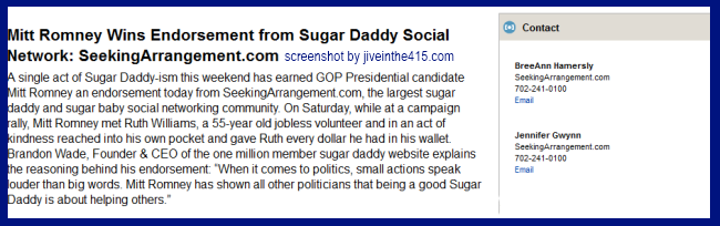 screenshot of seekingarrangement.com endorsement of willard mitt romney for president
