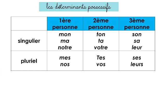 Les Determinants Possessifs Et Exercices Corriges Pdf Cm1