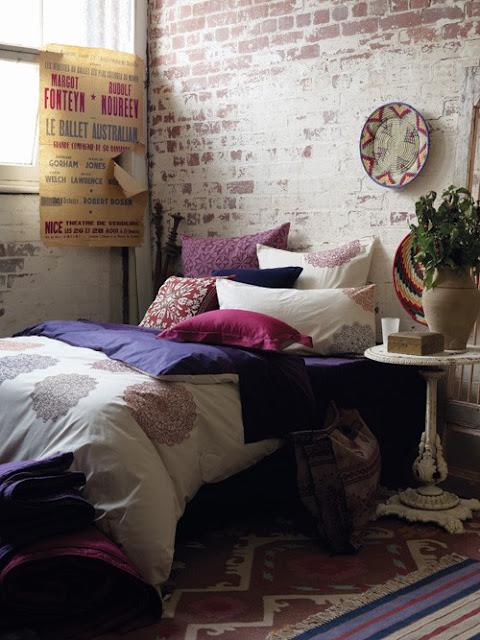 Purple Wall Bedroom Decor: Courtney Lane: Exposed Brick
