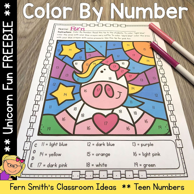 If you are looking for a PRINTABLE Distance Learning worksheet to include in your take home packets, during this difficult time, you and your Kinders will love this Unicorn Teen Numbers Color By Number. By Fern Smith's Classroom Ideas.