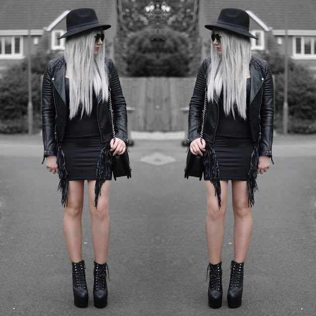 Sammi Jackson - Topshop Biker Jacket, Black Fringed Dress, Oasap Quilted Bag, Jeffrey Campbell Damsel Spike Wedges