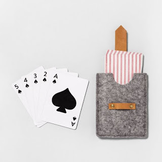 felt and leather packaged playing cards