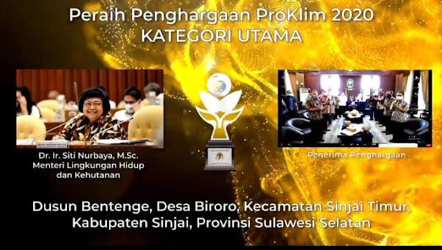 Desa Biroro Antarkan Sinjai Raih Penghargaan Proklim 2020 Kategori Utama